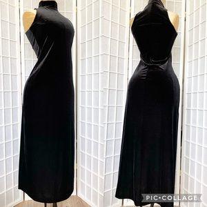Vintage velvet black maxi dress